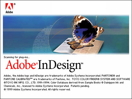 Splash screen de la primera versión de InDesign