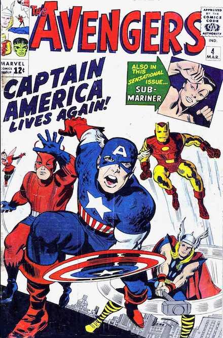 Portada del nº4 de Los Vengadores donde aparece por primera vez el Capitán América con el escudo redondo
