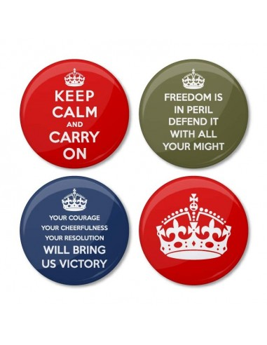 Chapas trilogía Keep Calm and Carry On
