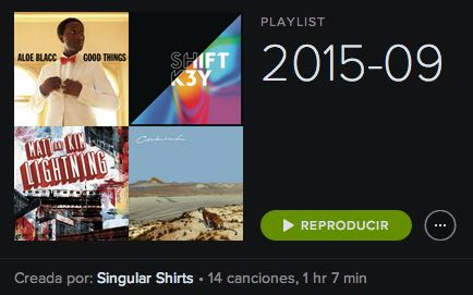 Singular Shirts Spotify playlist Música 2015:09