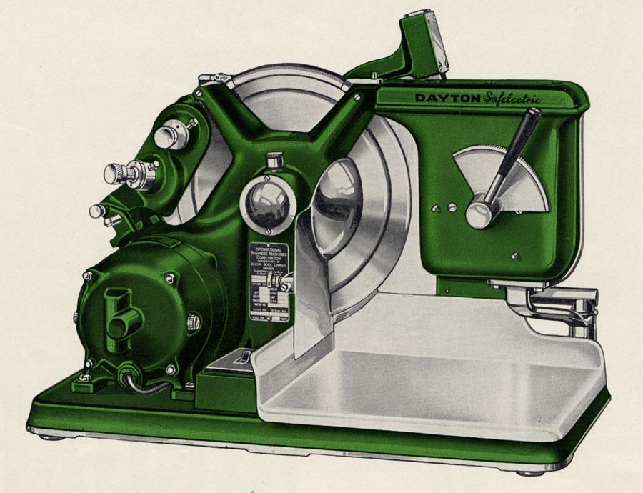 Una de las máquinas de cortar carne fabricadas por IBM cuando era CTR - Singular Shirts